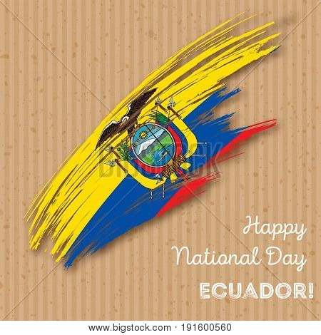 Ecuador Independence Day Patriotic Design. Expressive Brush Stroke In National Flag Colors On Kraft