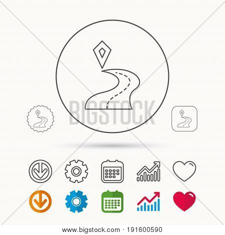 Destination pointer icon. Road location sign. Calendar, Graph chart and Cogwheel signs. Download and Heart love linear web icons. Vector