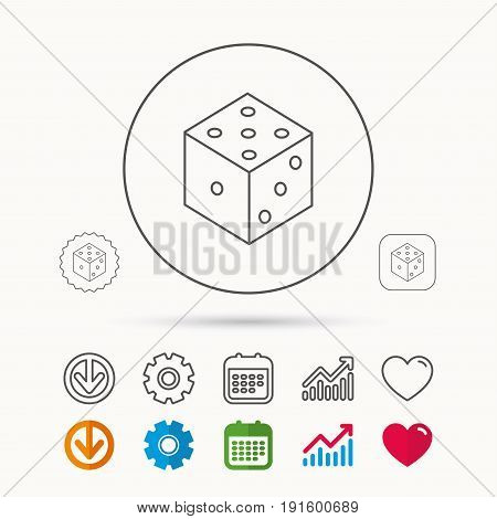 Dice icon. Casino gaming tool sign. Winner bet symbol. Calendar, Graph chart and Cogwheel signs. Download and Heart love linear web icons. Vector