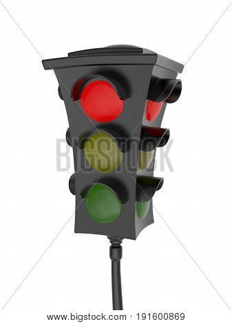 3D rendering of traffic light with a glowing red light Isolated on white background