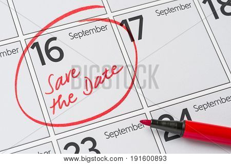 Save The Date Written On A Calendar - September 16