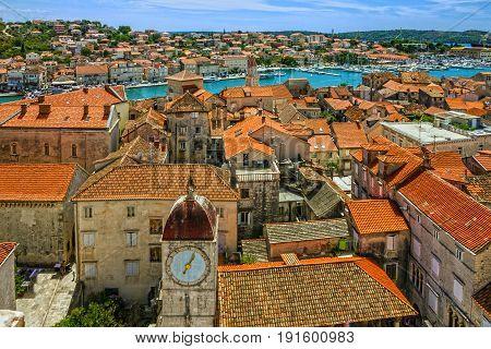 Trogir, Croatia town panoramic view Croatian tourist destination.