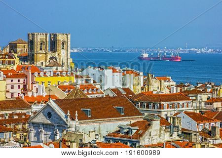 Lisbon city Cathedral Se panoramic view, Portugal.