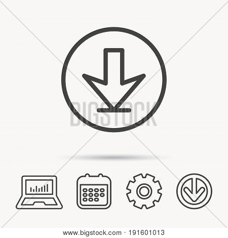 Download icon. Down arrow sign. Internet load symbol. Notebook, Calendar and Cogwheel signs. Download arrow web icon. Vector