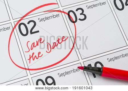 Save The Date Written On A Calendar - September 02
