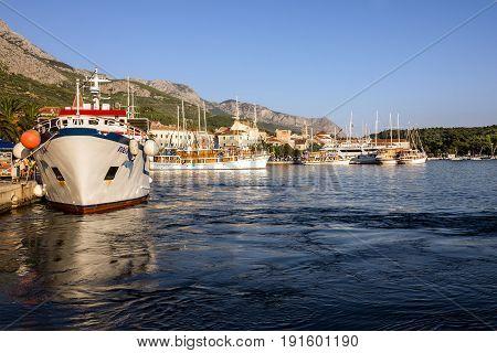 Makarska, Croatia - June 4, 2017: Croatia Makarska resort seafront view