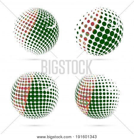 Turkmenistan Halftone Flag Set Patriotic Vector Design. 3D Halftone Sphere In Turkmenistan National