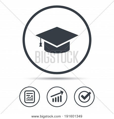 Education icon. Graduation cap symbol. Report document, Graph chart and Check signs. Circle web buttons. Vector