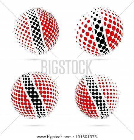 Trinidad And Tobago Halftone Flag Set Patriotic Vector Design. 3D Halftone Sphere In Trinidad And To
