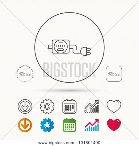 Electric counter icon. Electricity with plug sign. Calendar, Graph chart and Cogwheel signs. Download and Heart love linear web icons. Vector