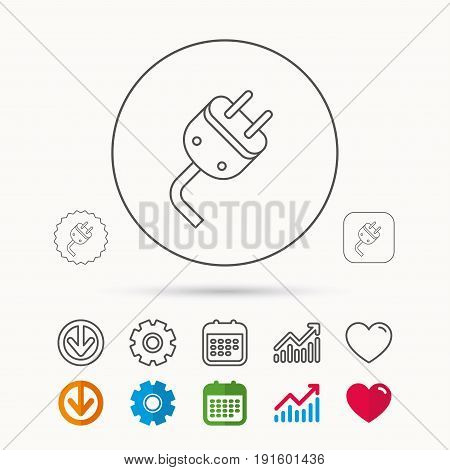 Electric plug icon. Electricity power sign. Cord energy symbol. Calendar, Graph chart and Cogwheel signs. Download and Heart love linear web icons. Vector