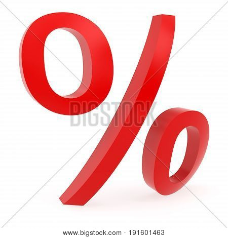 Curved red percent sign rendered with soft shadows on white background