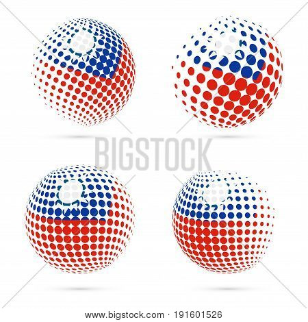 Taiwan Halftone Flag Set Patriotic Vector Design. 3D Halftone Sphere In Taiwan National Flag Colors