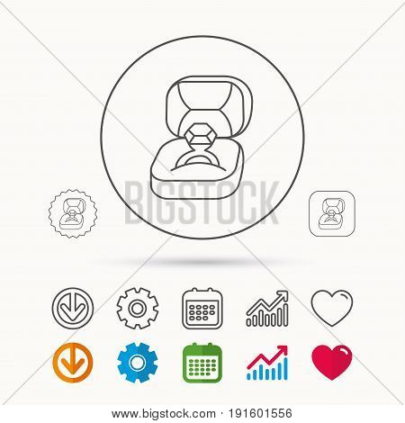 Engagement ring icon. Jewellery box sign. Calendar, Graph chart and Cogwheel signs. Download and Heart love linear web icons. Vector