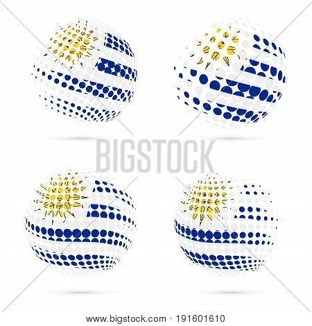 Uruguay Halftone Flag Set Patriotic Vector Design. 3D Halftone Sphere In Uruguay National Flag Color