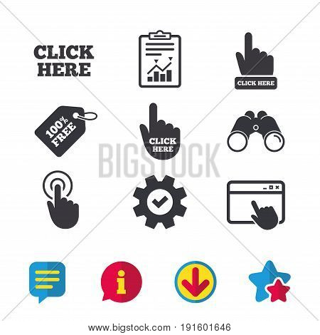 Click here icons. Hand cursor signs. Press here symbols. Browser window, Report and Service signs. Binoculars, Information and Download icons. Stars and Chat. Vector