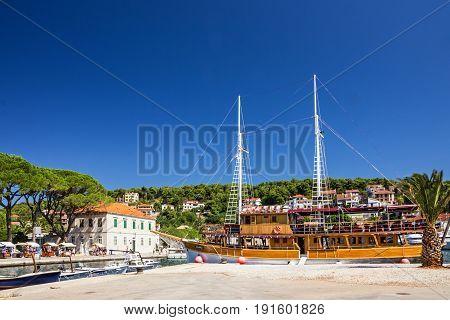 Hvar, Croatia - May 3, 2017: Croatia yacht in port of Hvar island