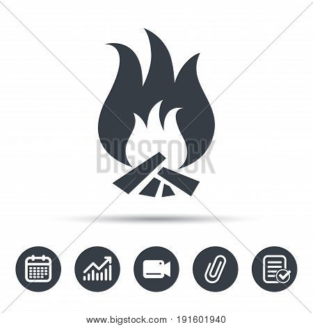 Fire icon. Blazing bonfire flame symbol. Calendar, chart and checklist signs. Video camera and attach clip web icons. Vector