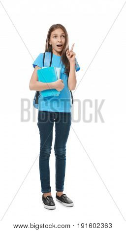 Cute pretty girl with books and schoolbag on white background