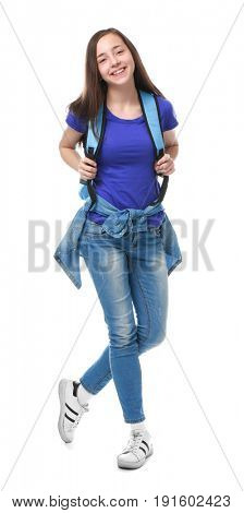 Cute pretty girl with schoolbag on white background