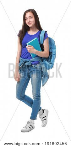 Cute pretty girl with book and schoolbag on white background