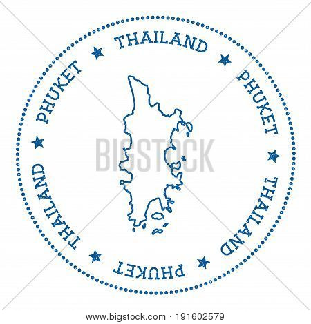Phuket Map Sticker. Hipster And Retro Style Badge. Minimalistic Insignia With Round Dots Border. Isl
