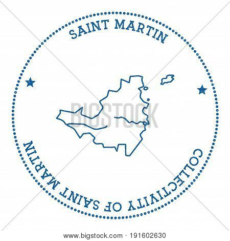 Saint Martin Map Sticker. Hipster And Retro Style Badge. Minimalistic Insignia With Round Dots Borde