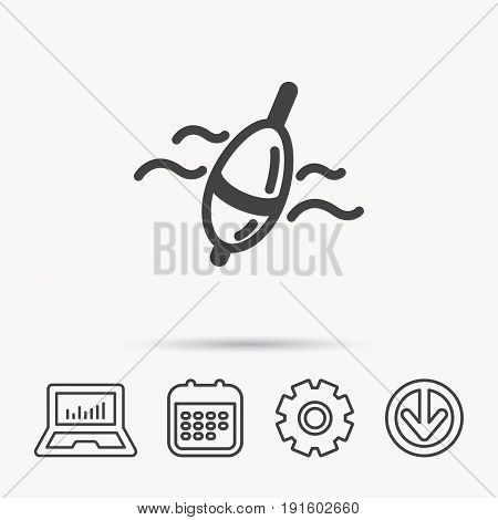 Fishing float icon. Bobber in waves sign. Angling symbol. Notebook, Calendar and Cogwheel signs. Download arrow web icon. Vector