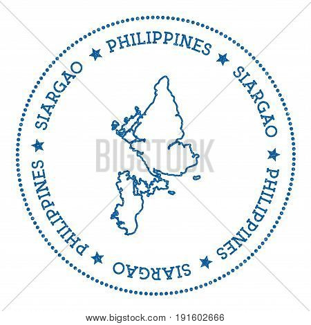 Siargao Map Sticker. Hipster And Retro Style Badge. Minimalistic Insignia With Round Dots Border. Is