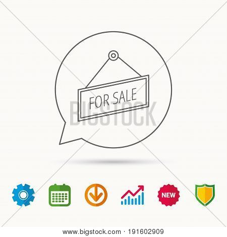 For sale icon. Advertising banner tag sign. Calendar, Graph chart and Cogwheel signs. Download and Shield web icons. Vector