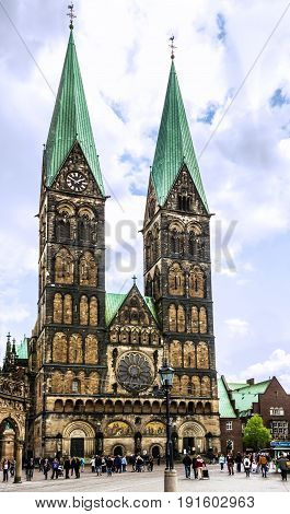 Bremen, Germany - May 29, 2017: Cathedral church square (Bremer Sankt Petri Dom) in Bremen, Germany