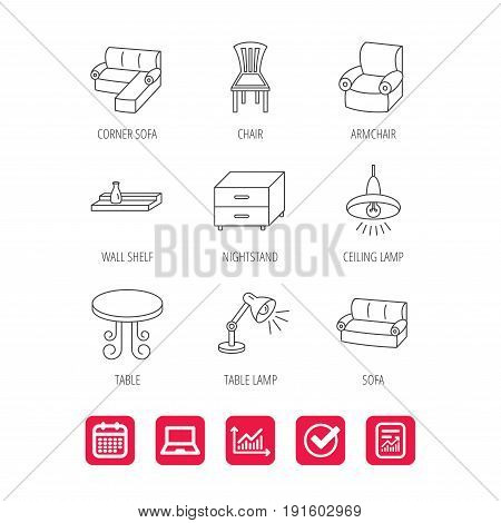 Corner sofa, table and armchair icons. Chair, ceiling lamp and nightstand linear signs. Wall shelf furniture flat line icons. Report document, Graph chart and Calendar signs. Vector