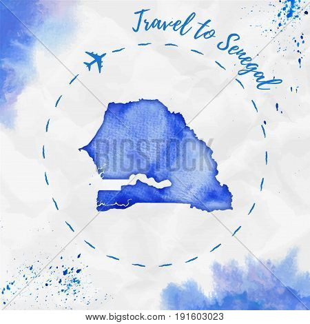 Senegal Watercolor Map In Blue Colors. Travel To Senegal Poster With Airplane Trace And Handpainted