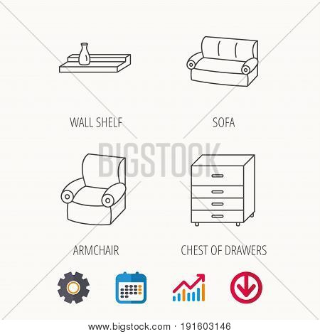 Sofa, wall shelf and armchair icons. Chest of drawers linear sign. Calendar, Graph chart and Cogwheel signs. Download colored web icon. Vector