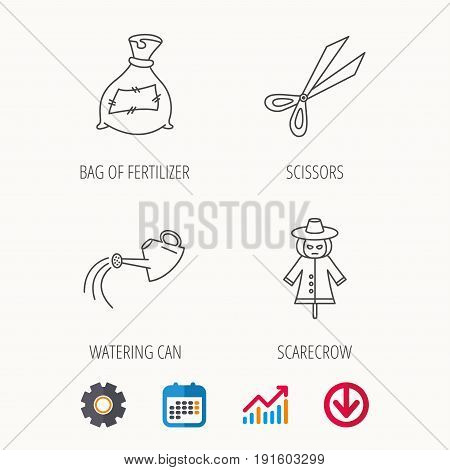 Scissors, watering can and watering can icons. Bag of fertilizer linear sign. Calendar, Graph chart and Cogwheel signs. Download colored web icon. Vector