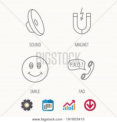 Magnet, smiling face and faq speech bubble icons. Sound linear sign. Calendar, Graph chart and Cogwheel signs. Download colored web icon. Vector