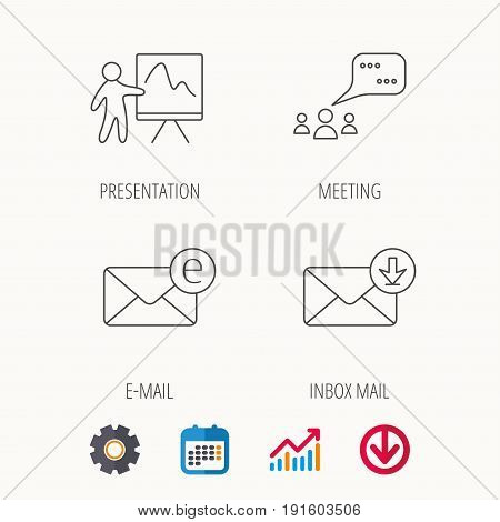 Mail, presentation and meeting chat bubbles icons. E-mail linear sign. Calendar, Graph chart and Cogwheel signs. Download colored web icon. Vector