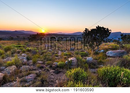 Sunset On The Plateau At Blyde River Canyon, Famous Travel Destination In South Africa. Scenic Sunse