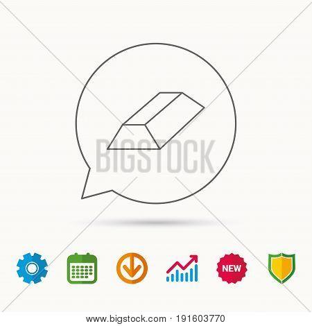 Gold bar icon. Banking treasure sign. Calendar, Graph chart and Cogwheel signs. Download and Shield web icons. Vector