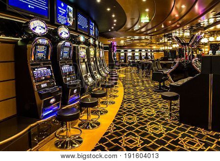 Cruise liner Splendida - May 7, 2017: Gaming casino interior Cruise liner Splendida