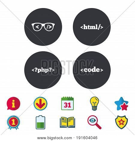 Programmer coder glasses icon. HTML markup language and PHP programming language sign symbols. Calendar, Information and Download signs. Stars, Award and Book icons. Light bulb, Shield and Search