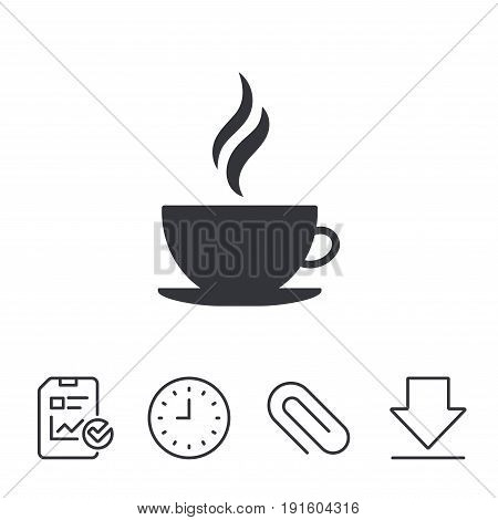 Coffee cup sign icon. Hot coffee button. Hot tea drink with steam. Report, Time and Download line signs. Paper Clip linear icon. Vector