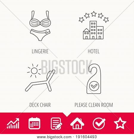Hotel, lingerie and beach deck chair icons. Clean room linear sign. Edit document, Calendar and Graph chart signs. Star, Check and House web icons. Vector