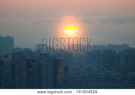 Sunset Sun View Of The City Silhouette, Pollution.