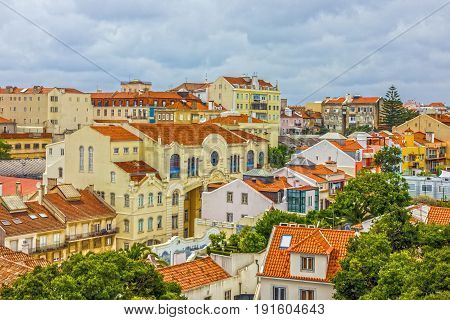 Lisboa city town houses panoramic view, Portugal
