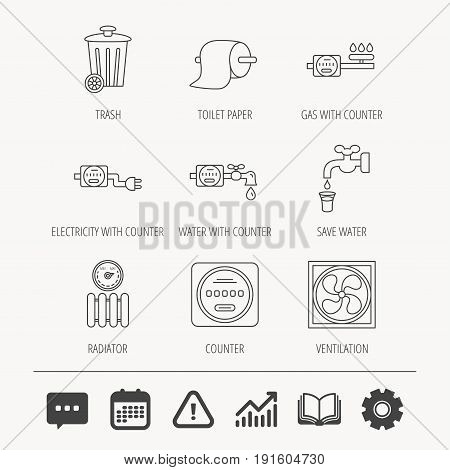 Ventilation, radiator and water counter icons. Toiler paper, gas and electricity counters linear signs. Trash icon. Education book, Graph chart and Chat signs. Vector
