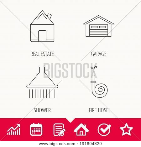 Real estate, garage and shower icons. Fire hose linear sign. Edit document, Calendar and Graph chart signs. Star, Check and House web icons. Vector