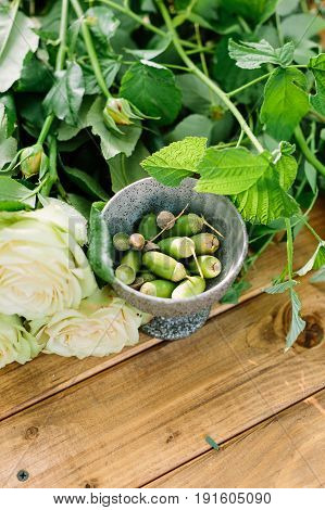 nature, floral design, gardening, environment concept - close-up of little metal bowl with green acorns and fresh bunch of creamy blooming bud of roses with stems and leaves on wooden board