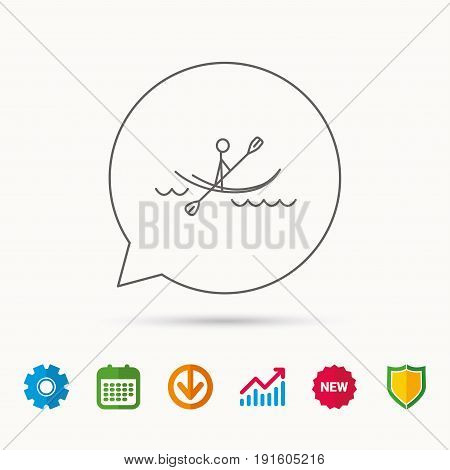 Kayaking on waves icon. Rafting or canoeing sign. Boating sport symbol. Calendar, Graph chart and Cogwheel signs. Download and Shield web icons. Vector