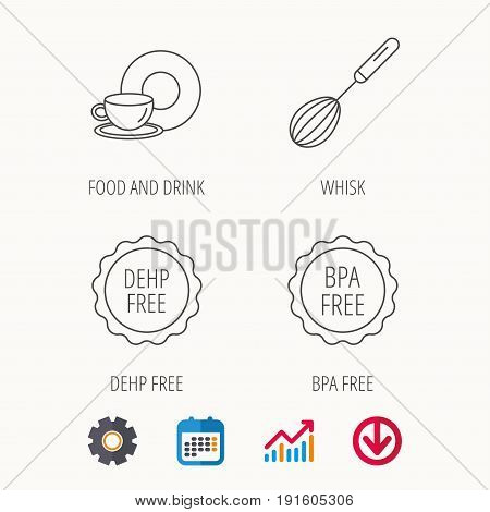 Food and drink, whisk and BPA free icons. DEHP free linear sign. Calendar, Graph chart and Cogwheel signs. Download colored web icon. Vector